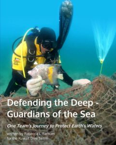 book cover to 'Defending the Deep' showing a diver underwater freeing a fish from a large abandoned net