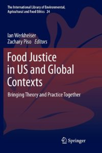 book cover for 'Food Justice in US and Global Contexts' showing abstract leaf in blue and red tones
