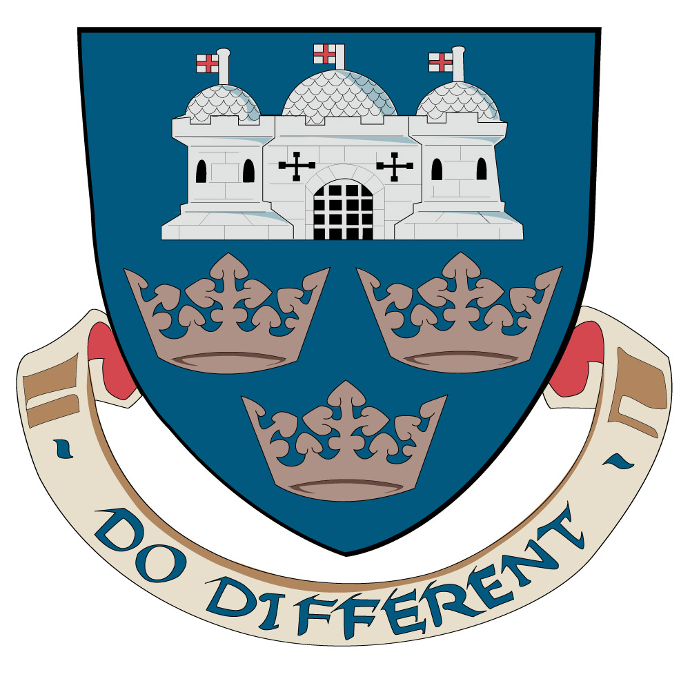 "coat of arms of the University of East Anglia with the slogan ""Do Different"""